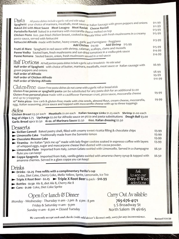 Perillo's Pizza menu North Salem Indiana