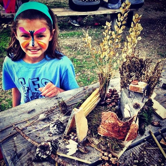 Beans & Greens Farm - fairy house and facepainted girl