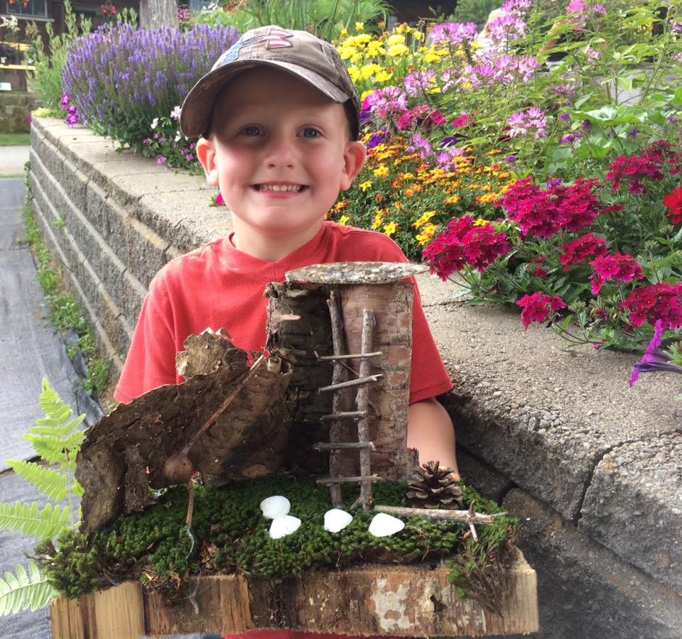 Beans & Greens Farm - fairy house and happy boy