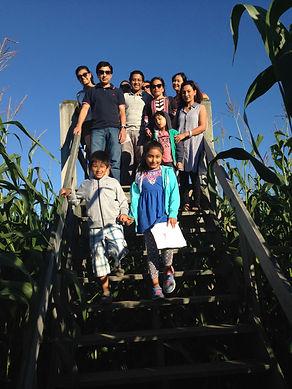 Beans & Greens Farm - cornmaze family bridge .JPG