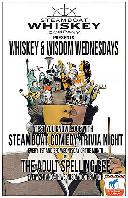 Poster for Steamboat Comedy + Steamboat Whiskey Co's Whiskey Wisdom Wednesdays