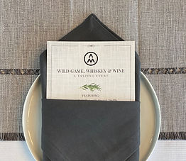 Folded napkin and menu for the Wild Game, Whiskey & Wine Event