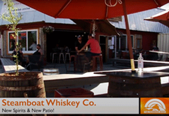 An MTN TV segment shows a view of the new patio at Steamboat Whiskey Company