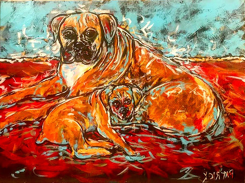 Two Dogs / Red & Blue