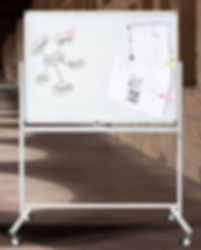 Mobile Whiteboards - Stativdrehtafeln mit Rollen.