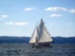 "Make a donation. Ferry Sloops is in need of replacing the main sail on ""Whimbrel"""