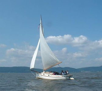 """Our boat, """"Whimbrel"""", is a 22' sloop-rigged Catboat"""