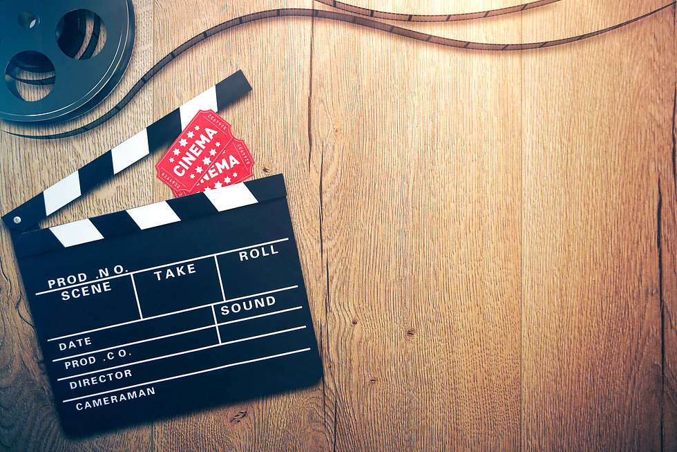 Cinema background with clapperboard, tic