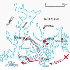 Carte de la région d'Angmagssalik