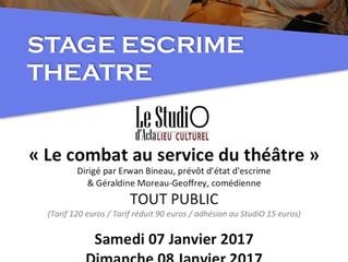 Stage Théâtre Escrime en Janvier : inscrivez vous dès maintenant !
