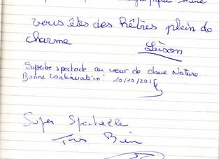 Quelques messages du Fort de Condé laissés dans notre livre d'or