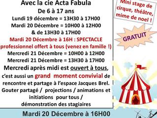 Le Cirque / Théâtre de Quartier revient pour Noël !
