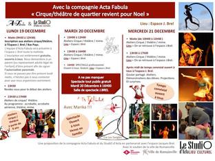 """Le """"Cirque/théâtre de quartier revient pour Noel"""" avec la compagnie Acta Fabula et le Stud"""