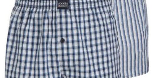 Jockey Boxer Shorts check/Stripe pack of 2 Navy