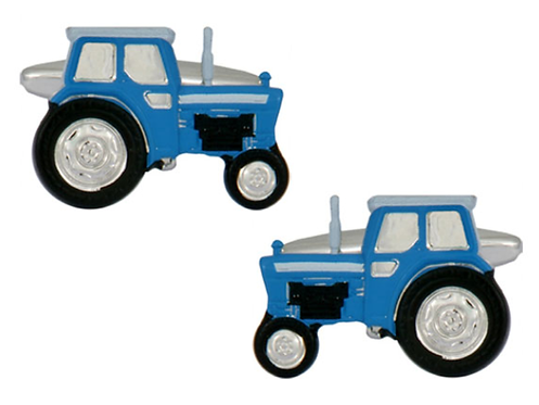 Blue tractor cuff links