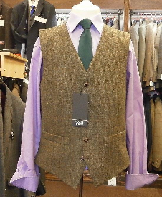 Scott Khaki Herringbone Waistcoat