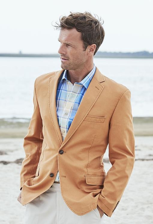 Tatton Apricot Washed Cotton Linen Jacket