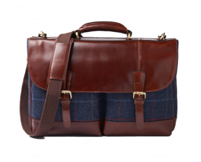 Haincliffe Tweed Leather Briefcase
