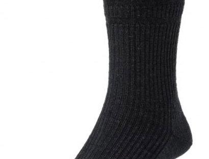 HJ190 Extra Wide Softop, Wool Rich Socks - Black