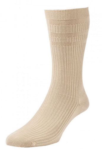 HJ191 Extra Wide Softop Cotton Rich Socks -Oatmeal