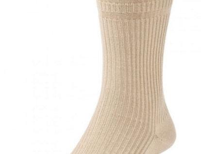 HJ191 Extra Wide Softop Cotton Rich Socks -Oatmeal