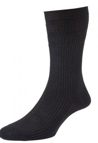 HJ191 Extra Wide Softop Cotton Rich Socks - Black