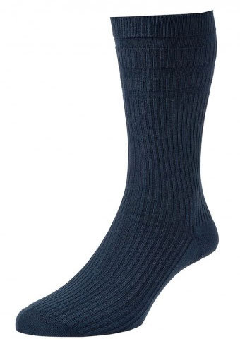HJ191 Extra Wide Softop Cotton Rich Socks -Navy