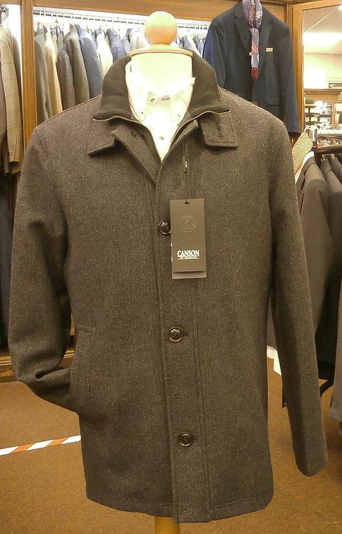 Canson Charcoal herringbone wool blend coat