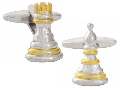 Chess gold/rhodium plated cufflinks