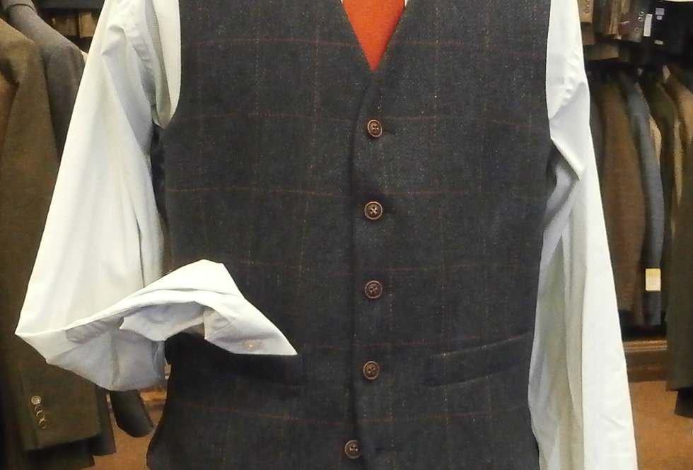 Scott Wool Blue Herringbone  Waistcoat