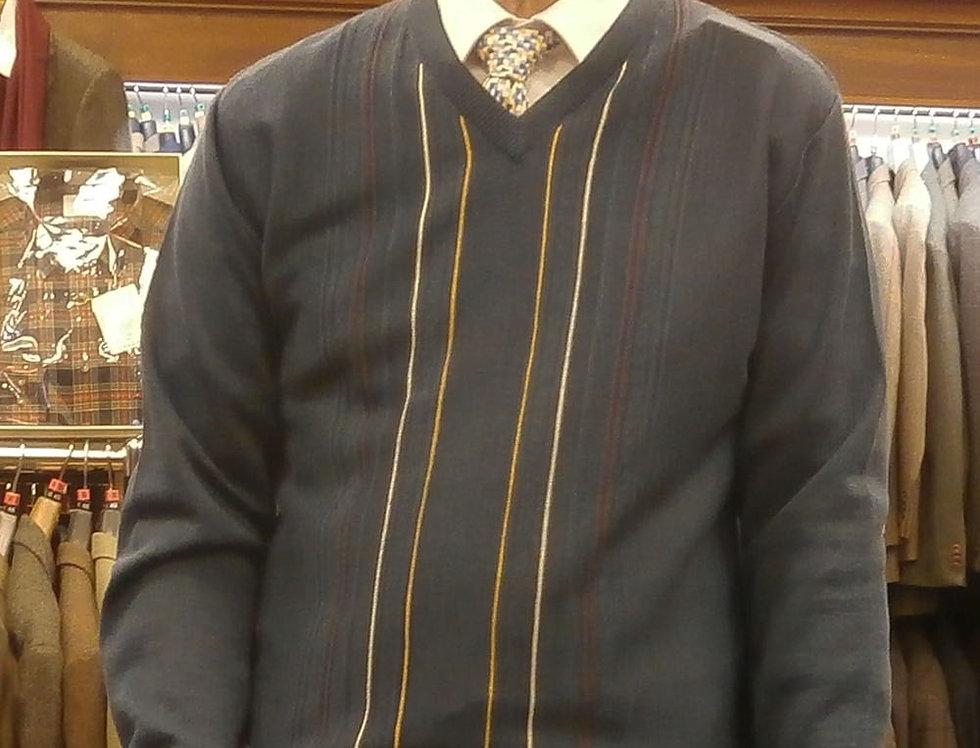 Gabicci Mid Blue Patterned V Neck Pullover