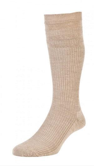 HJ98 Mid-Calf Softop Socks - Oatmeal