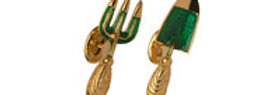 Gold plated garden fork and trowel links