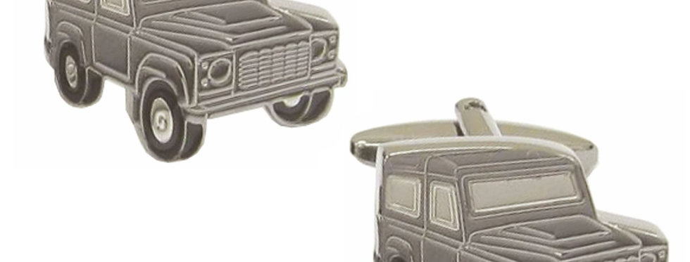 Rhodium Plated Land Rover Cuff Links