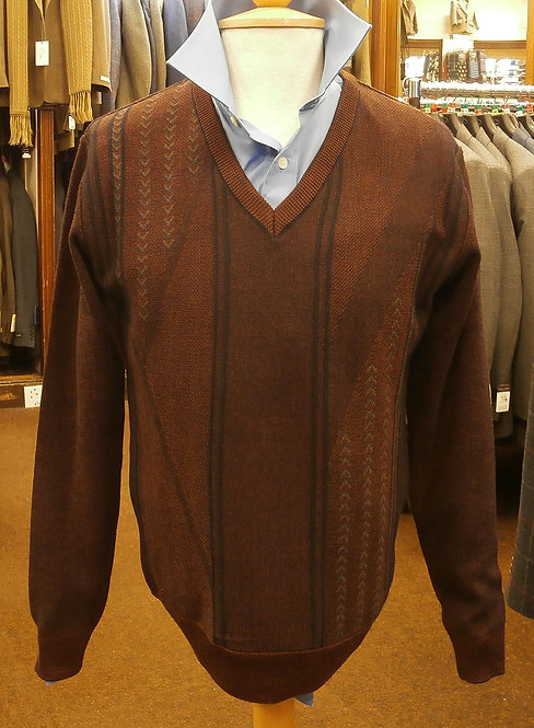 DG Prestige Wine Patterned V Neck Pullover