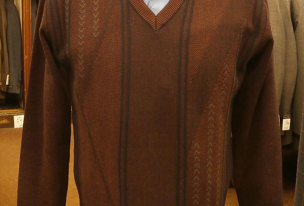 DG Prestige Wine Patterned V Neck Pullover