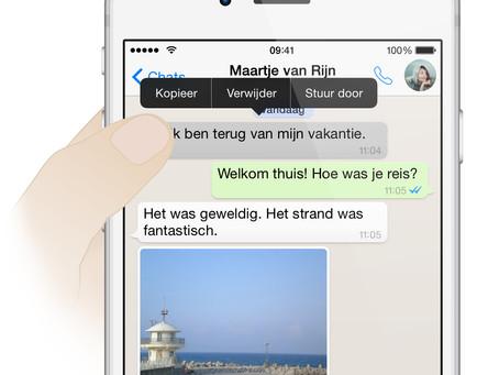 WhatsApp test aanpassen van verzonden berichten