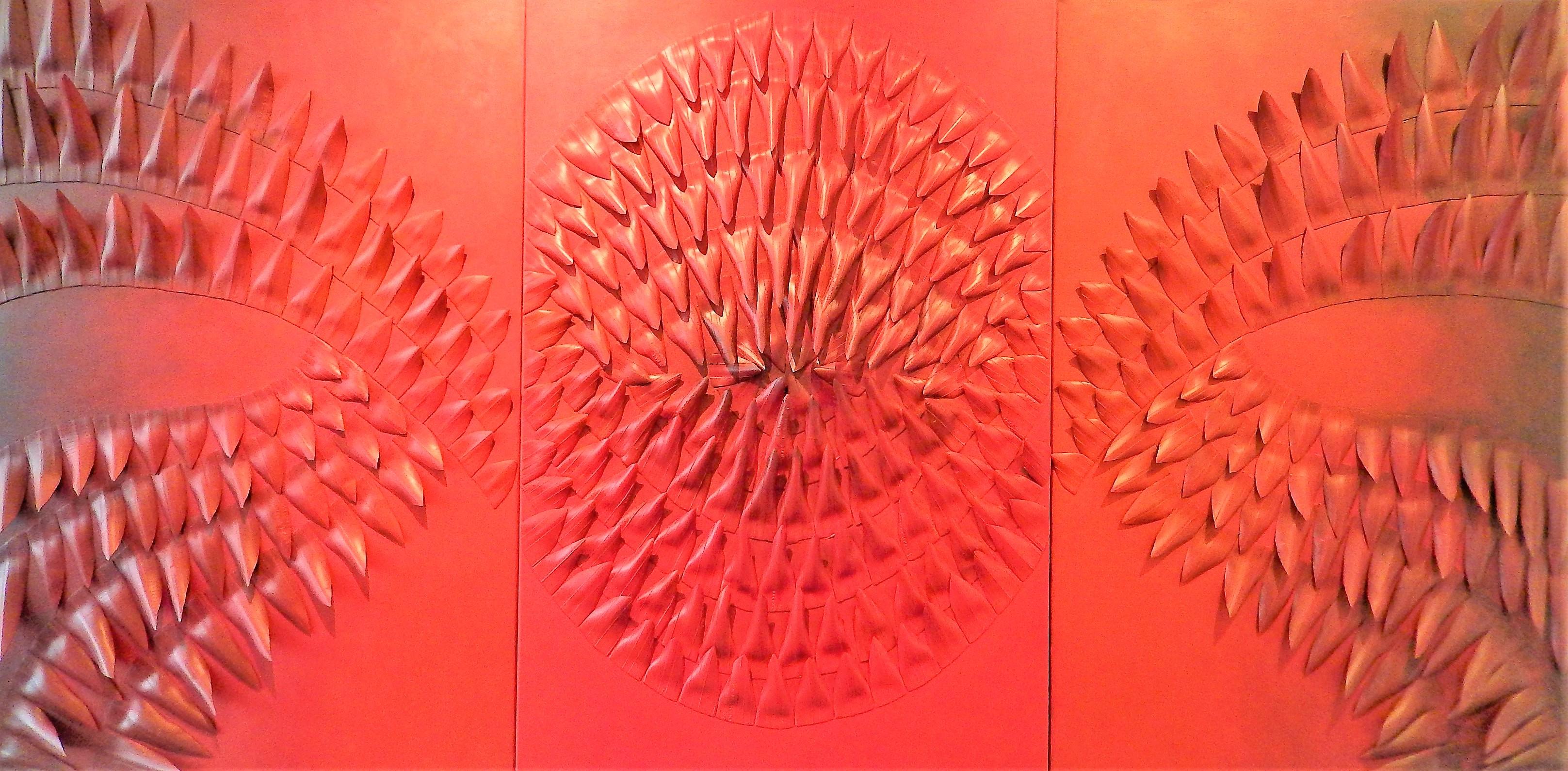 Partir,_195_X_100_cm,_chambres_à_air_sur_toile,_peinture_acrylique