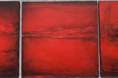 Les Rivières rouges Triptyque 120X40 cm