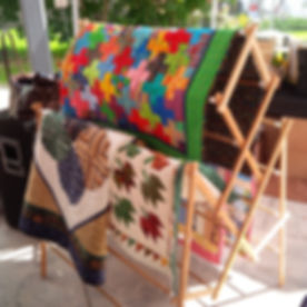 Quilts on display at a pop-up show held by the Erin Village Quilters group.