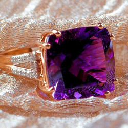 8.39cts Moraccan Amethyst Solitaire with Diamonds 14k Solid Rose Gold Ring