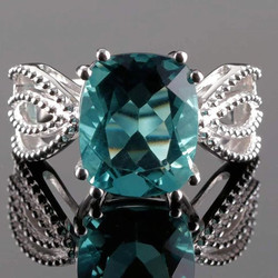 6.16ct Genuine Tucson Green Fluorite Solitaire  925 Solid Sterling Silver Ring