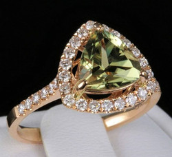 1.90ct Genuine Csarite Solitaire with Diamonds 14k Solid Roze Gold Ring