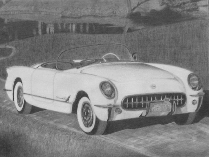 1953 Chevrolet pencil sketch 11x14