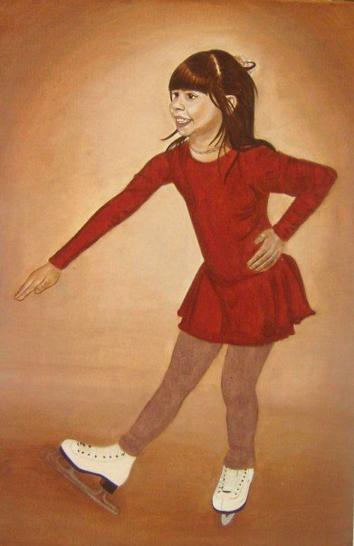 2x3ft portrait of a figure skater