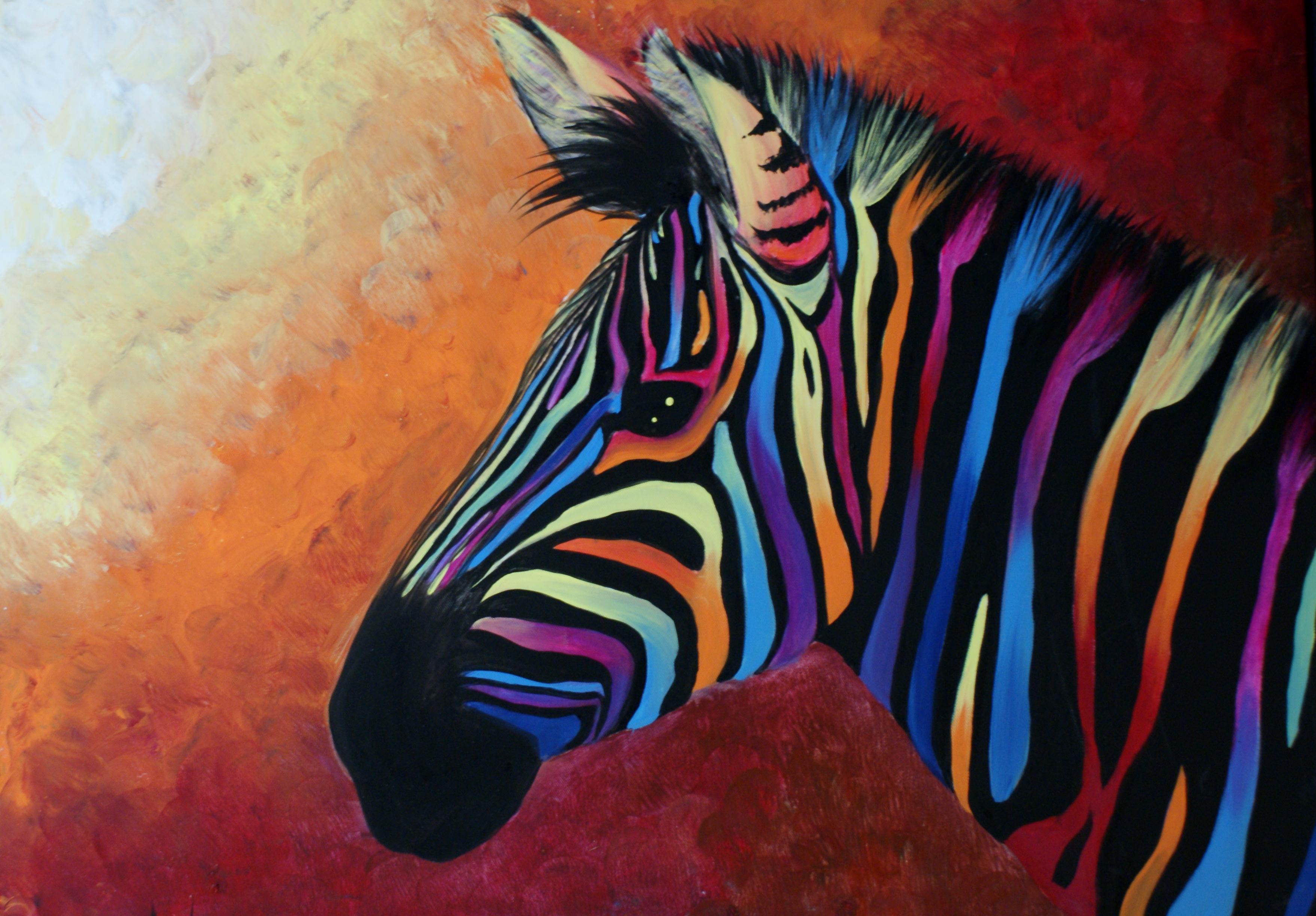 Rainbow Zebra 18x24