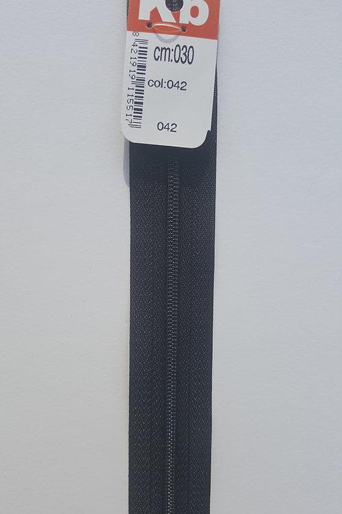 Cremallera negra 30 cm KB
