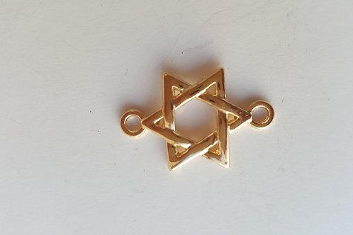 2 Triángulos entrelazados dorados de 2.5 cm