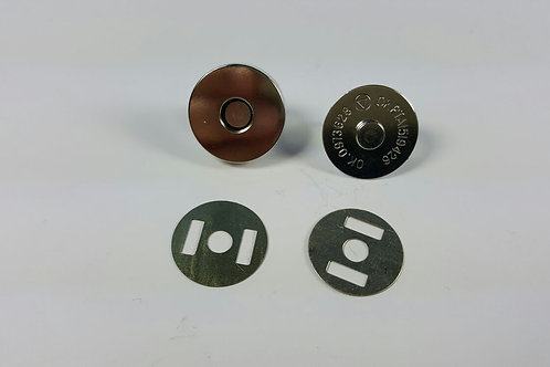 Cierre imán plateado 2 cm de diámetro.