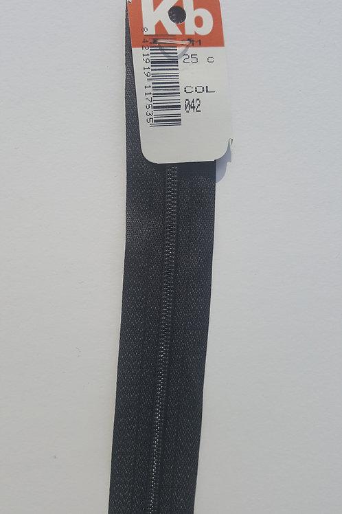 Cremallera negra 25 cm KB